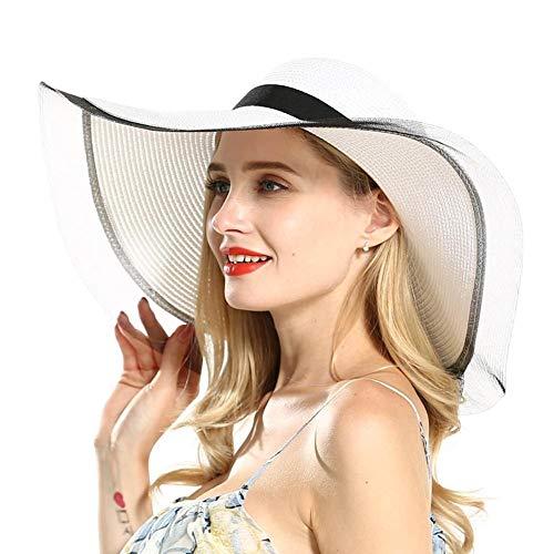 HoneybeeLY Sombrero de Paja de Sol para Mujer con ala Ancha UPF 50 + Sombrero de Sol de Verano con Tejido UV Plegable para Viajes, Playa, Sombreros de Panamá Jack Sombreros Crocheted Toyo Sun Hat