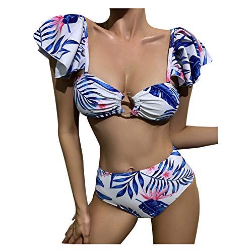 Damen Bikini Drei Stücke Badeanzug V-Ausschnitt Push Up Oberteiles mit High Waist drucken Bikinihosen Swimsuit Gepolsterte Bademode Strandmode Sommeranzug