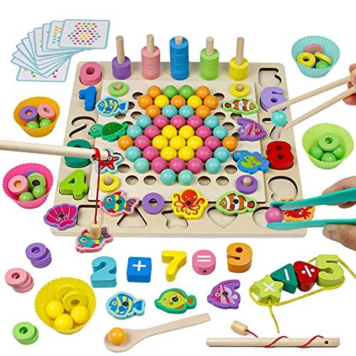 Giochi Montessori per Bambini 4 in 1 Giochi da Tavolo Legno Giocattoli Perline Magnetico Pesca Pesciolini Giochi Educativi Regalo per Bambini Bambina 3 4 5 6 Anni