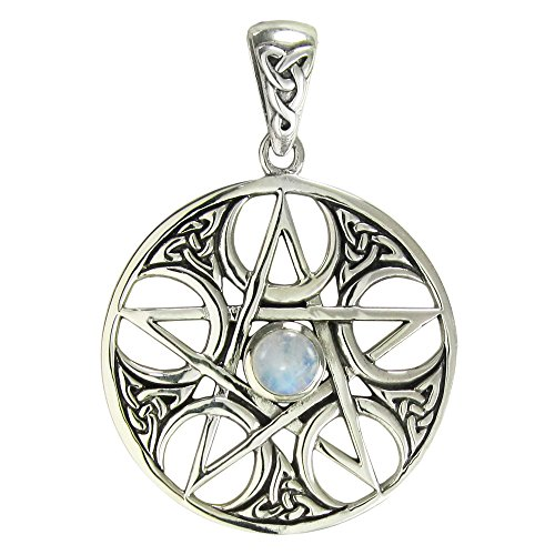 Sterling Silver Celtic Knot Pentacle Pendant with Rainbow Moonstone