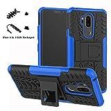 liushan lg g7 custodia, protettiva shockproof rigida dual layer resistente agli urti con cavalletto caso per lg g7 smartphone (con 4in1 regalo impacchettato),blu