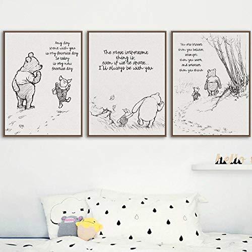 HMOTR Winnie The Pooh Zitate Leinwand Poster und Drucke Klassische Cartoon Movie Art Malerei Schwarz Weiß Bild Kinderzimmer Wandkunst Dekor