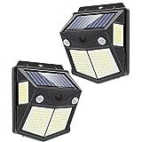 ソーラーライト センサーライト 160LED 2センサー 4面発光 人感センサー 屋外照明 防水 防犯ライト 300°照明範囲 自動点灯 屋外 庭 玄関 駐車場 ガーデンライト 2個セット 昼白色