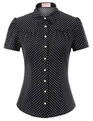Belle Poque Damen Vintage Retro Casual Tops schwarz Polka dots Sommer Kurzarm Bluse 2XL BP870-4