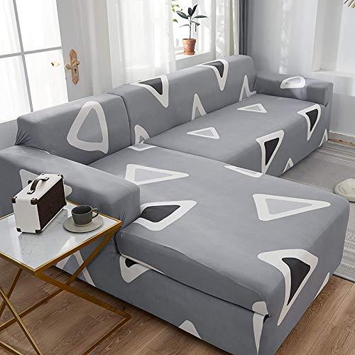 AGGF Funda de sofá en Forma de L Chaise Longue seccional de 2 Piezas para sofá en Forma de L Funda Protectora de Muebles de sofá seccional con Funda de Almohada Tejido de Punto H, 190~230 + 190