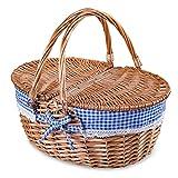 Rurality Cesta de mimbre para picnic con tapa y asa, resistente cuerpo tejido con forro lavable a cuadros, color azul