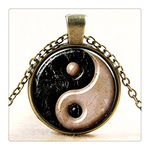 Marble Black and White Yin Yang Necklace Tai Chi Kung Fu Sports Jewelry Tao Necklace