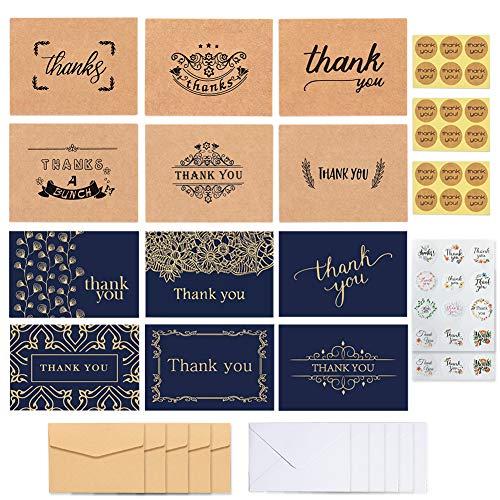 Dsaren 36 Piezas Tarjetas de Agradecimiento Gracias Papel de Estraza Marron Azul Tarjetas de Felicitacion con Sobres y Pegatinas para Boda Negocios Aniversario Graduación Bautismo