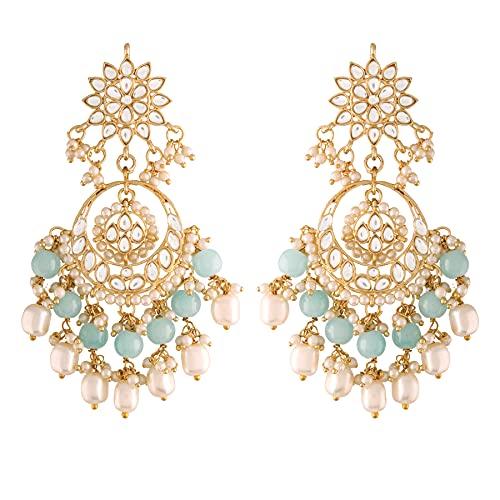 I Jewels Pendientes Chandbali con cuentas Kundan de perlas de Bollywood chapados en oro de 18 quilates para mujer (E2916Sb)