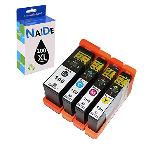 NAIDE Compatible Ink Cartridge Replacement for Lexmark 100XL 100 XL for Lexmark Prestige Pro802 Pro805 Pinnacle Pro901 Impact S305 Printer(4 Pack)