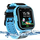 Kids Smart Watch Phone, LBS/GPS Tracker Waterproof Smartwatch for Boys Girls Children SOS Touch Screen Camera Two-Way Call for 3-12 Years Old (Blue)