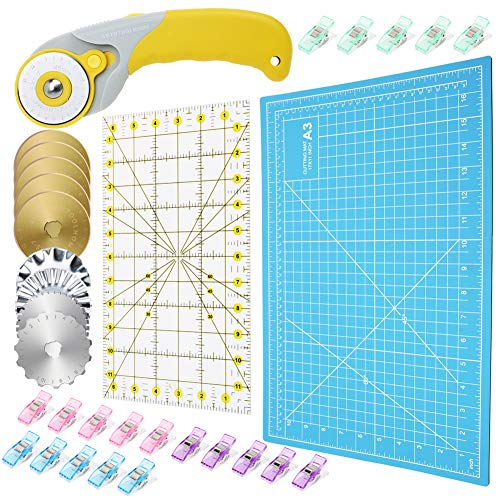 """AUTOTOOLHOME 45mm Rotary Cutter Set Quilting Kit 9pcs Replacement Titanium Rotary Blades Pinking Crochet Skip Blaes A3 Cutting Mat 6.x11"""" Acrylic Ruler and 20pcs Craft Clips"""