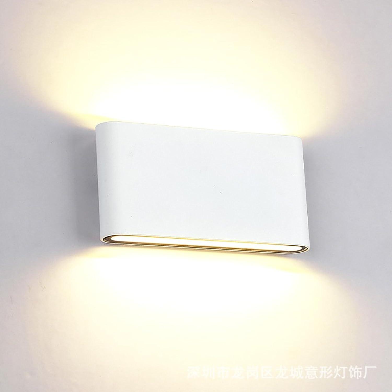 Moderne LED-Wandleuchte im Freien wasserdichte Auenwandlampe quadratische Gartenlampe Gang-Balkonlampe Nachttischlampe schwarz wei (Farbe   Weiß-17590mm)
