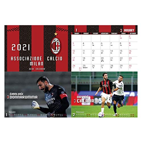 JJH Calendarios de Escritorio de fútbol para Hombres 2021-2022 Mensual, Calendario Deportivo 2021, Regalo de año Nuevo para los Amantes del fútbol, 21 x 17 cm