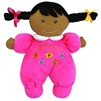Stephan Baby Ultra Soft Plush My First Doll with Dark Complexion and Black Hair Hot Pink