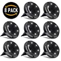 Solar Ground Lights Outdoor,10 LED Outdoor Ground Lights Solar Powered,Waterproof Solar Disk Lights Outdoor Inground Lights,Solar Garden Landscape Lights for Pathway Walkway Patio Yard,8 Packs