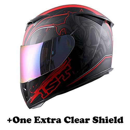 Motorcycle Full Face Skull King Matt Red Helmet + One Extra Clear Shield
