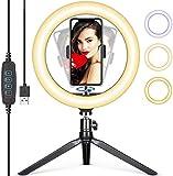 Ventdest Anillo de Luz LED, 10.2' Aro de Luz con Trípode para Móvil, 3 Colores y 10 Brillos Regulables, Soporte de Móvil, para TIK Tok, Selfie, Maquillaje, Streaming, Youtube