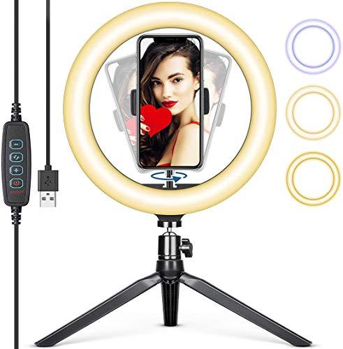 Hanbee LED Lumière Anneau 12 Pouces avec Trépied, 3 Modes d'Eclairage et 10 Niveaux de Luminosité Ring Light avec Télécommande Wirel pour Caméra, Maquillage,Youtube Vidéo