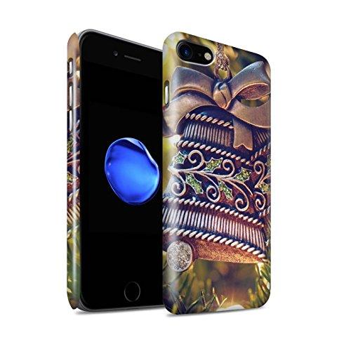 Gloss telefoonhoesje voor Apple iPhone SE 2020 Kerstmis foto messing bel ontwerp glanzend Ultra slank dun hard Snap Cover