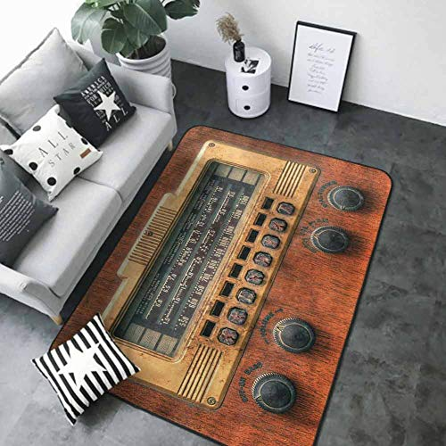 Kitchen Mat for Living Room Vintage,Antique Ancient Radios 80 x 58 in Best Floor mats