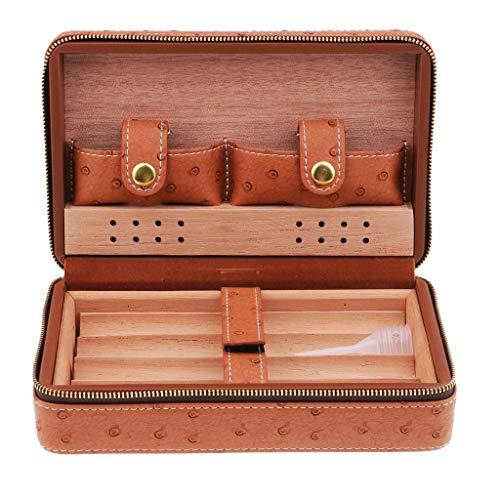 Tubayia Zigarren Humidor Box Zigarrenkiste Zigarren Aufbewahrungsbox mit Befeuchtungssystem (Braun)