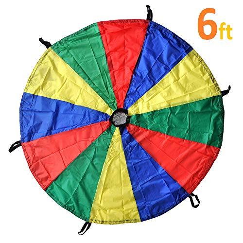 GSI Kids Play Parachute Rainbow Parachute Toy Tent Game for Children Gymnastic Cooperative Play and Outdoor Playground Activities (6 Feet 6 Handles)