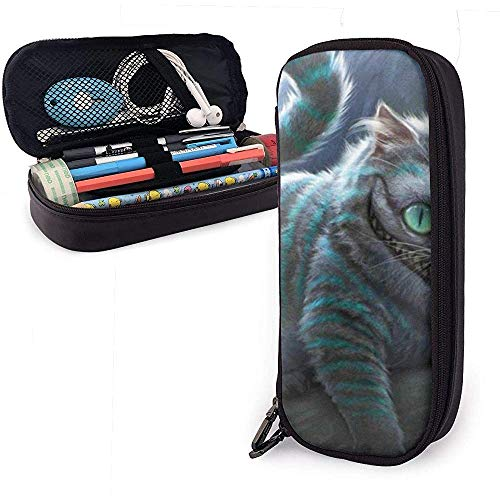 Astucci Laughing Cat PU Leather Pouch Storage Bags Portable Student Pencil Office Stationery Bag Zipper Wallets Makeup Multi-Function Bag