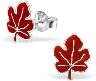 925 Sterling Silver Red Maple Leaf Stud Earrings 7341