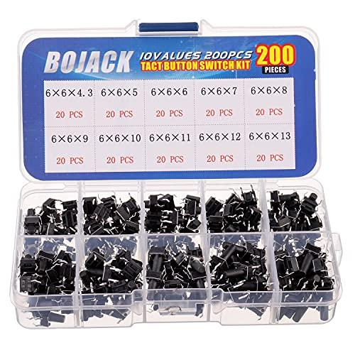 BOJACK 10 Valores 200 piezas 6x6 mm Interruptores mediante pulsación de botón Kit de surtido de interruptores momentáneos de 4 pines