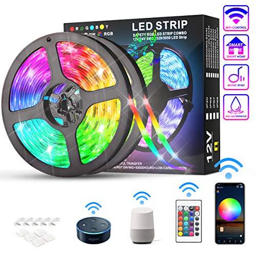 KATUR Tiras LED 10m, Funciona con Alexa Google Assistant, Exterior Impermeable Inteligentes Aplicación WiFi y control del controlador, 300 LED 5050 RGB, Música temporizada regulable Tira LED