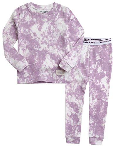 VAENAIT BABY Kids Girls 100% Cotton Sleepwear Pajamas 2pcs Set Prism Purple XS