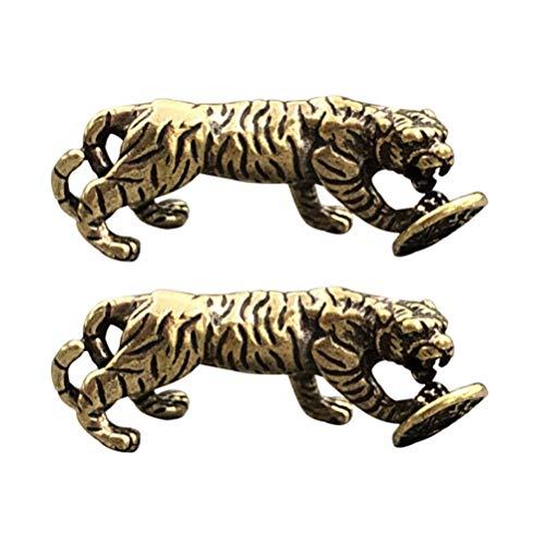 WINOMO 2pcs Tiger Figur Deko Messing Statue Tiger mit Bedeutung des Erfolgs Moderne Skulptur Schreibtisch Dekor für Privatpersonen Gästezimmer Restaurant Golden