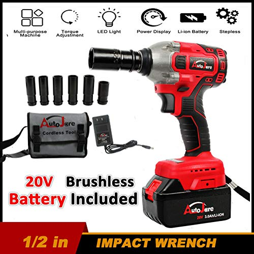 Celiy_Ship from US Warehouse 16800mAh 1/2'' Electric Brushless Cordless Impact Wrench Drill High Torque Tool Tools Automotive Repair Tools Power Tools