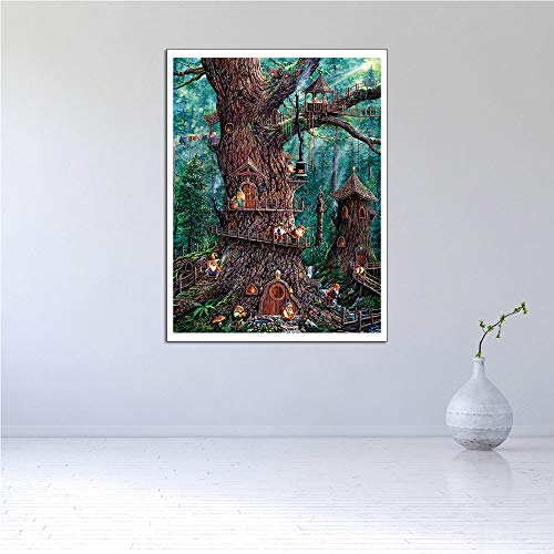 ZJMI Canvas Prints,Modern Style Green Forest House Abstract HD Art Print Pictures,For Kitchen Living Room Office Restaurant,70×100Cm No Frame