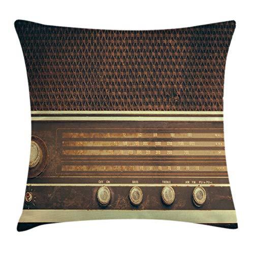 Vintage Throw Pillow Cojín, Old Antique Retro 60s Style Radio Music Player Altavoces Botones Imagen, Funda de Almohada Decorativa Cuadrada Acnt, 45x45cm, Blanco Marrón