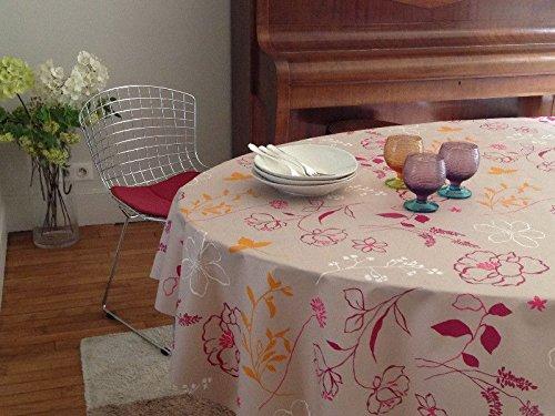 Fleur de soleil ~ Nappe Camélia Orange Coton Enduit 160x160