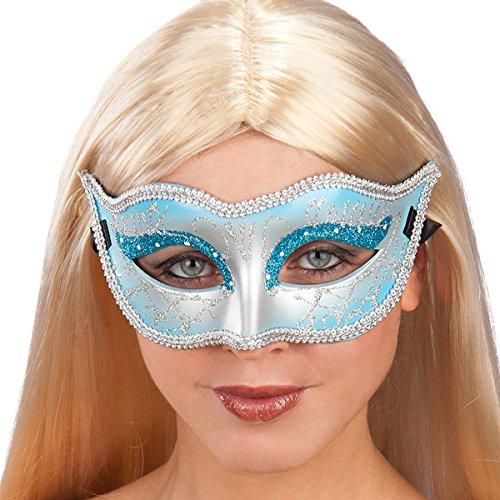 Masque de bal - Loup - Deguisement - Plastique - Strass - Bleu - 869