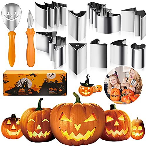 Pumpkin Carving Kit,11PCS Pumpkin Carving Tools with Stencils for Kids Adults,Stainless Steel DIY Pumpkin Carving Set Safe Halloween Decorations Pumpkin Punchers Carver Tool Gift for Kids