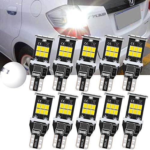 TUINCYN T15 912 921 LED Ampoules de recul inversées Blanc 6000K CANBUS sans Erreur, W16W 906 2835 Lampe de recul 2835 15SMD Ampoule de recul à LED compensée (Paquet de 10)
