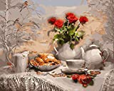 Brandless Pintar por nmeros caf Dibujo sobre Lienzo Pintado a Mano Alimentos Arte Regalo DIY Paisaje Imagen por nmero Taza Kits decoracin del hogar 60x75cm sin Marco