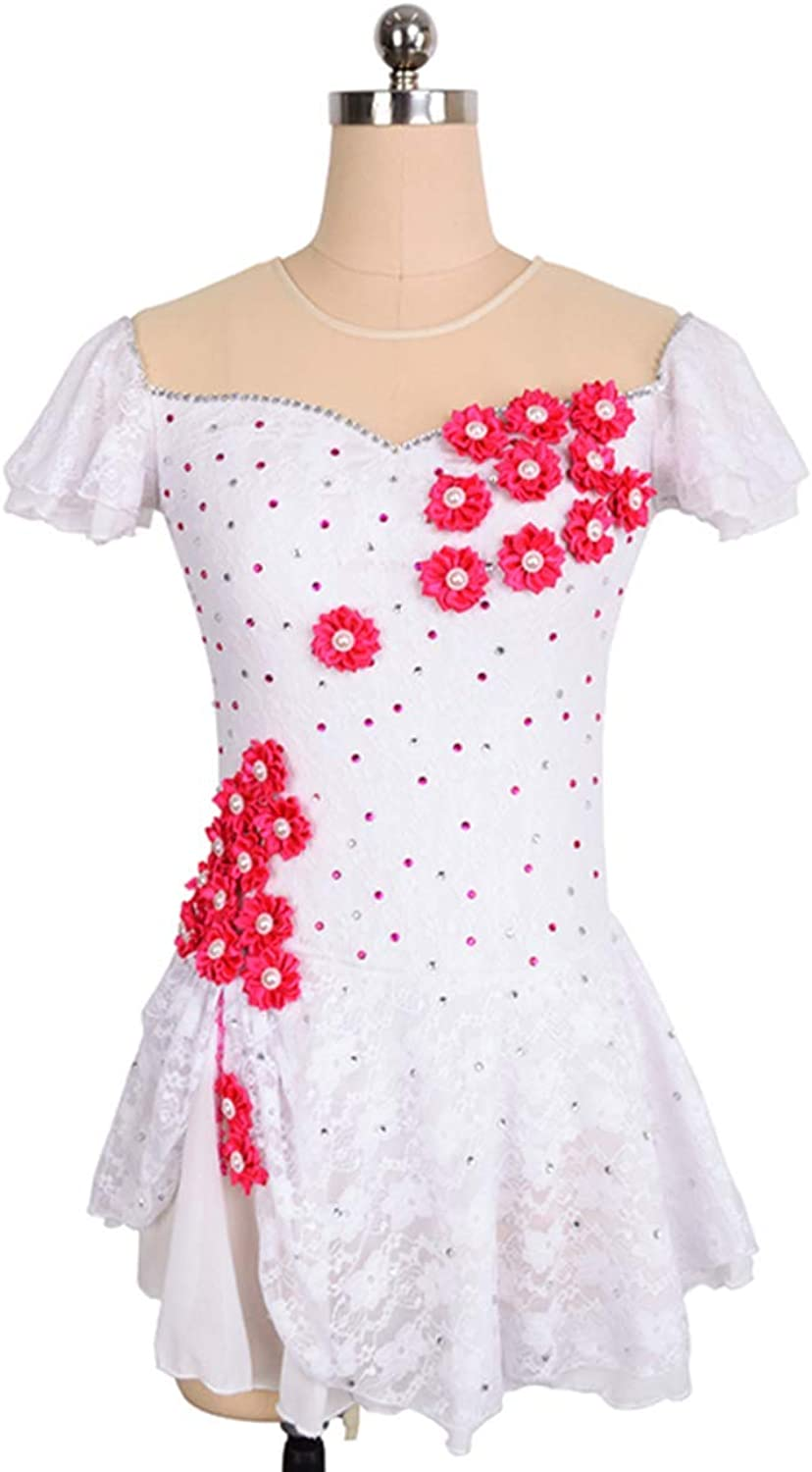 Ice Skating Dress For Girls, Handmade Figure Skating Competition Costume Short Sleeved With Crystals Flower Decor Pearl