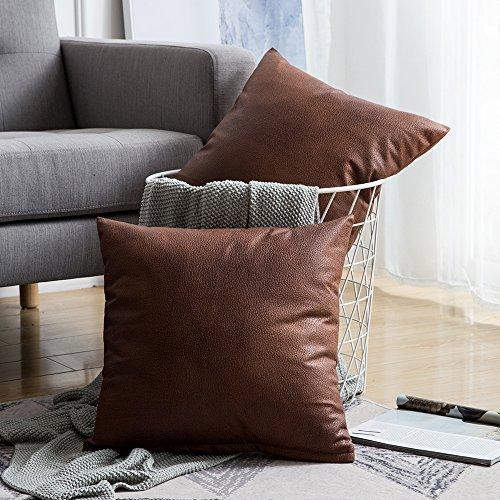 MIULEE 2er Set Solid Dekorative Faux Leder Quadrat Throw Kissenbezug Set Kissen Fall für Sofa Schlafzimmer 18x18 Zoll 45x45 cm Braun