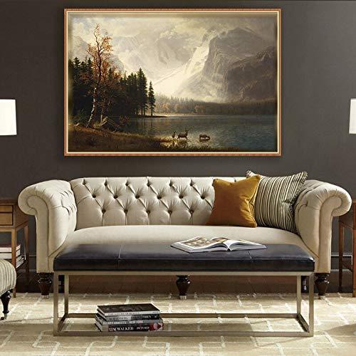 wZUN Lienzo de Gran tamaño, impresión artística, Pintura, póster, Imagen clásica, Sala de Estar, decoración del hogar 60x80 Sin Marco