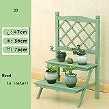 YUNMO Hölzerne Faltbare Blumentopf Stand Garten Pflanzer Display Leiter Gärtner Lagerung Regale Rack Herb Halter (Farbe : Green-02)