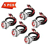 5Pcs 19mm 12V Waterproof ON OFF Latching Push Button Switch with Wiring Harness and Led Indicator Light, 24V Pre-wired SPDT Self-locking 4 Pin Marine Metal Switch for Boats Cars Truck (Red)
