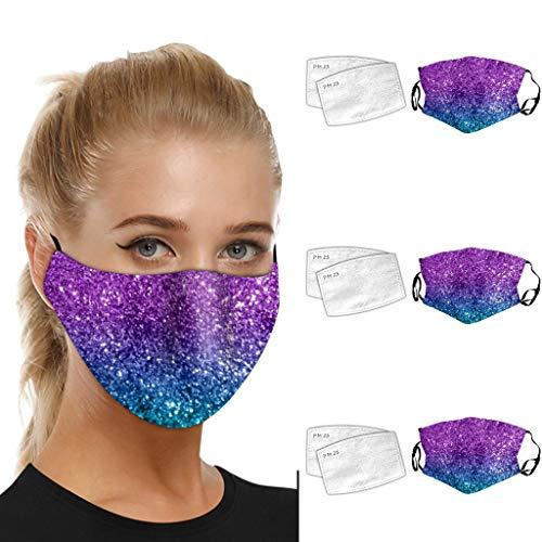 SHUANGA Frauen Sonnenschutz Outdoor Gesicht Waschbare Atmungsaktive Wiederverwendbare Maske Mit FilterMultifunktionstuch Winddicht Atmungsaktiv Mundschutz Halstuch Schön Atmungsaktiv Sommerschal
