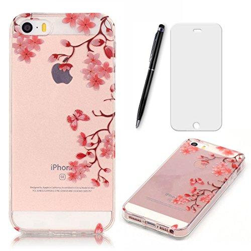Lotuslnn iPhone 5/5S/SE Coque,Apple iPhone 5/5S/SE TPU Silikon Etui Transparent Housse Cases and Covers (Coque+ Stylus Pen + Tempered Glass Protective Film)- fleurs de cerisier