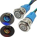 CESFONJER Interruptor de Botón de Bloqueo   2 Pcs (Azul+Rojo) Botón Interruptor Resistente al Agua   LED Símbolo de poder 19mm 12V Metal Encendido/Apagado Para Automovil, Barco, Etc