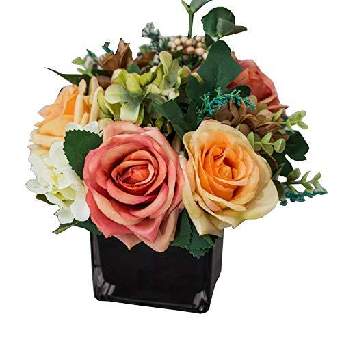 Phoenix Wonder Flores de Rosas Artificiales con jarrón Arreglos Florales De Rosas De Seda Centros de Mesa para Sala de Estar, Ramo de Boda, B05